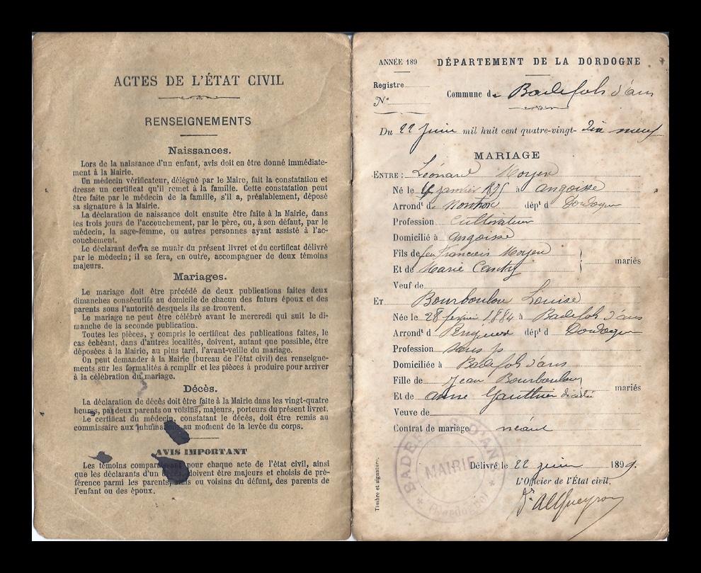 livret etat civil genealogie